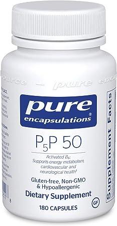 Pure Encapsulations P5P 50   Vitamin B6 Supplement to Support Metabolism*   180 Capsules