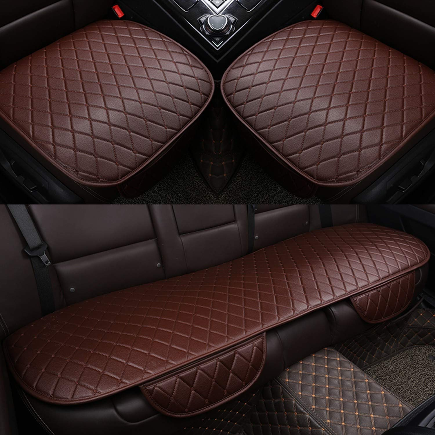 Universal Leather Car Seat Cover Cushion Front Rear Backseat Seat Cover Auto Chair Seat Protector Mat Pad Interior Accessories,Beige