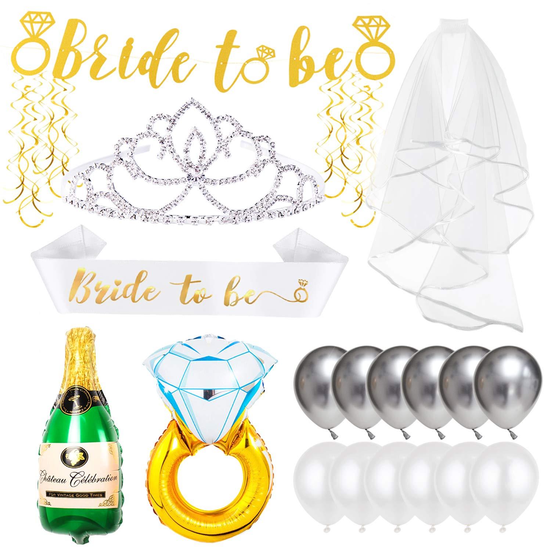 Celebrite Bachelorette Party Decorations | Classy Bridal Shower Party Supplies | Tiara, Veil, Bride to Be Sash, Banner, Balloons, Foil Swirls, Foil Balloons
