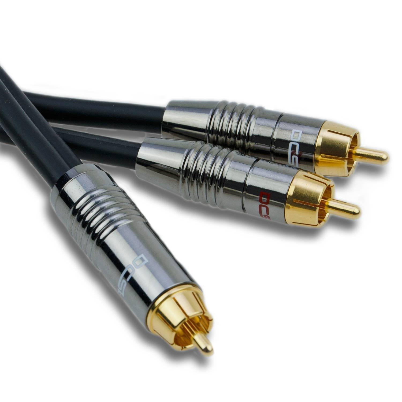 DCSk Cable de audio de subwoofer (1,5 m) Dorado & 3 capas de blindaje, mono RCA de cable con 1 a 1 conector RCA, cable de audio como Cable Coaxial, ...
