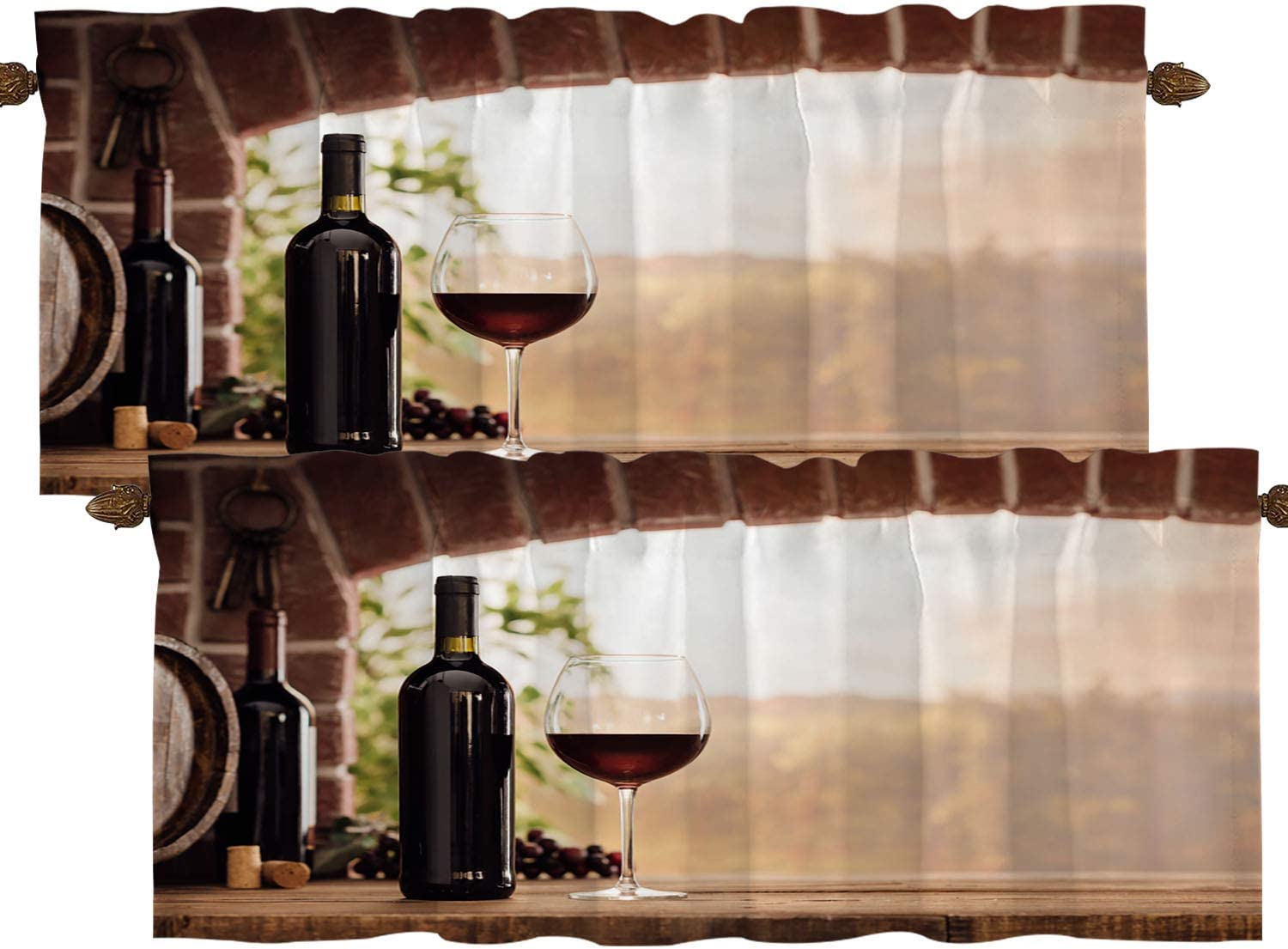 BaoNews Red Wine Sunset Kitchen Valances Window Curtain, Red Wine Bottle Glass Grapes Winery Wines Blackout Decoration Small Window Valances Curtains Drapes for Kitchen Bedroom, 52 X 18 Inch Set of 2