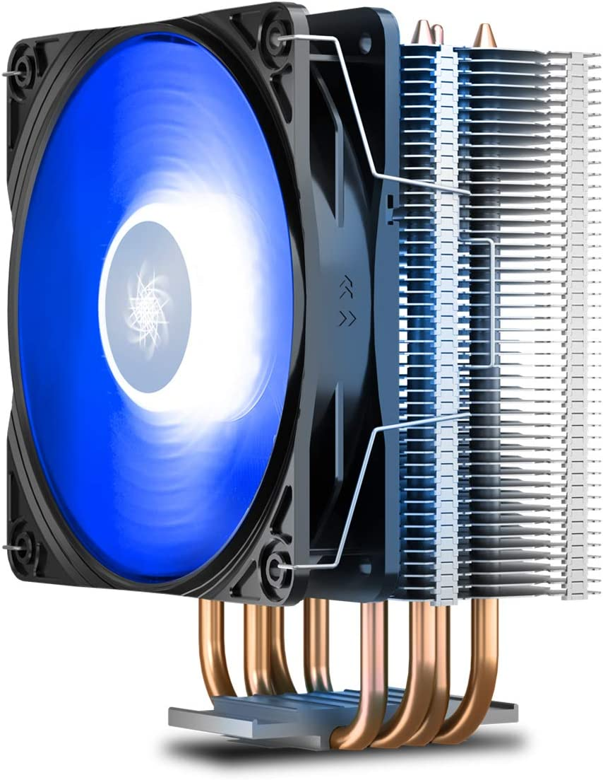 DEEPCOOL GAMMAXX400V2 Blue CPU Air Cooler with 4 Heatpipes, 120mm PWM Fan and Blue LED for Intel/AMD CPUs (AM4 Compatible)