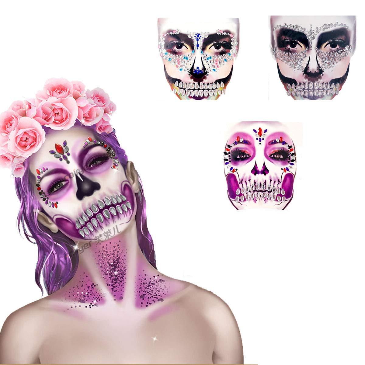 Day of the Dead Halloween Diamond Face Tattoos Face Diamond Stickers, Sugar Skull Face Tattoo Stickers Kit, Diamond Face Sticker Temporary Face Tattoo Stickers for Halloween, Masquerade (3sheets)