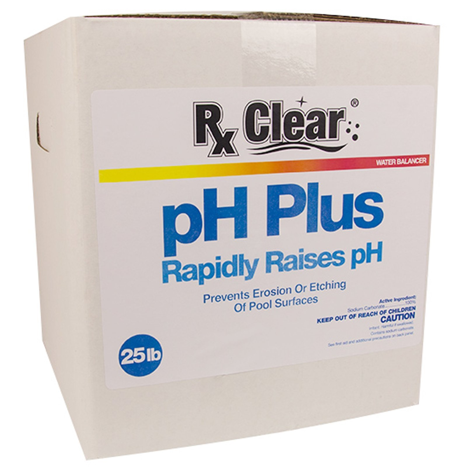 Rx Clear Swimming Pool pH Plus | Rapid Raises pH Levels | Quickly Correct Acidic Water Conditions | Water Balancer | Prevents Erosion Or Etching of Pool Surfaces | 25 Lbs by Rx Clear