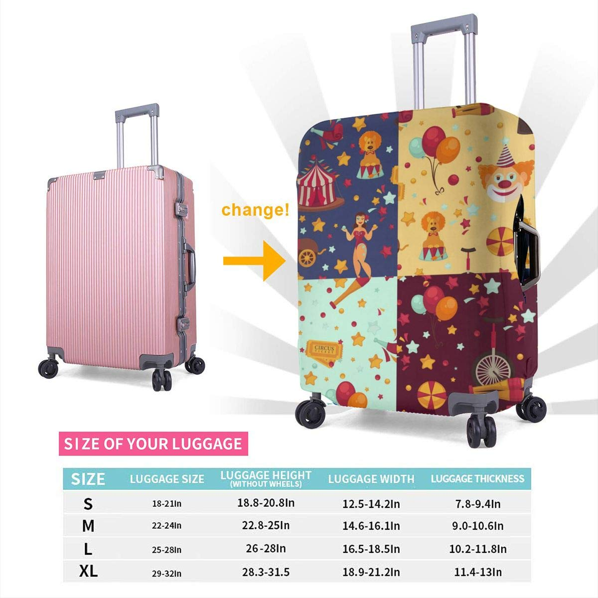 JHNDKJS Circus Themed Bright Set Travel Luggage Cover Baggage Suitcase Protector Fit for 12-18 Inch Luggage