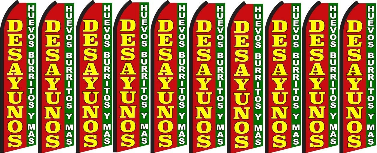 Pack of 10 Hardware not Included Desayunos King Swooper Feather Flag Sign