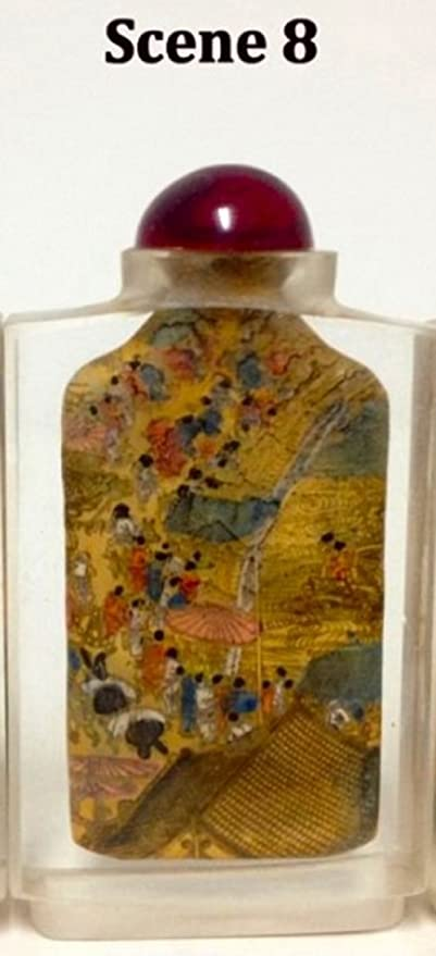 Chinese Collectible inside painted Handmade Bamboo Glass Snuff Bottle