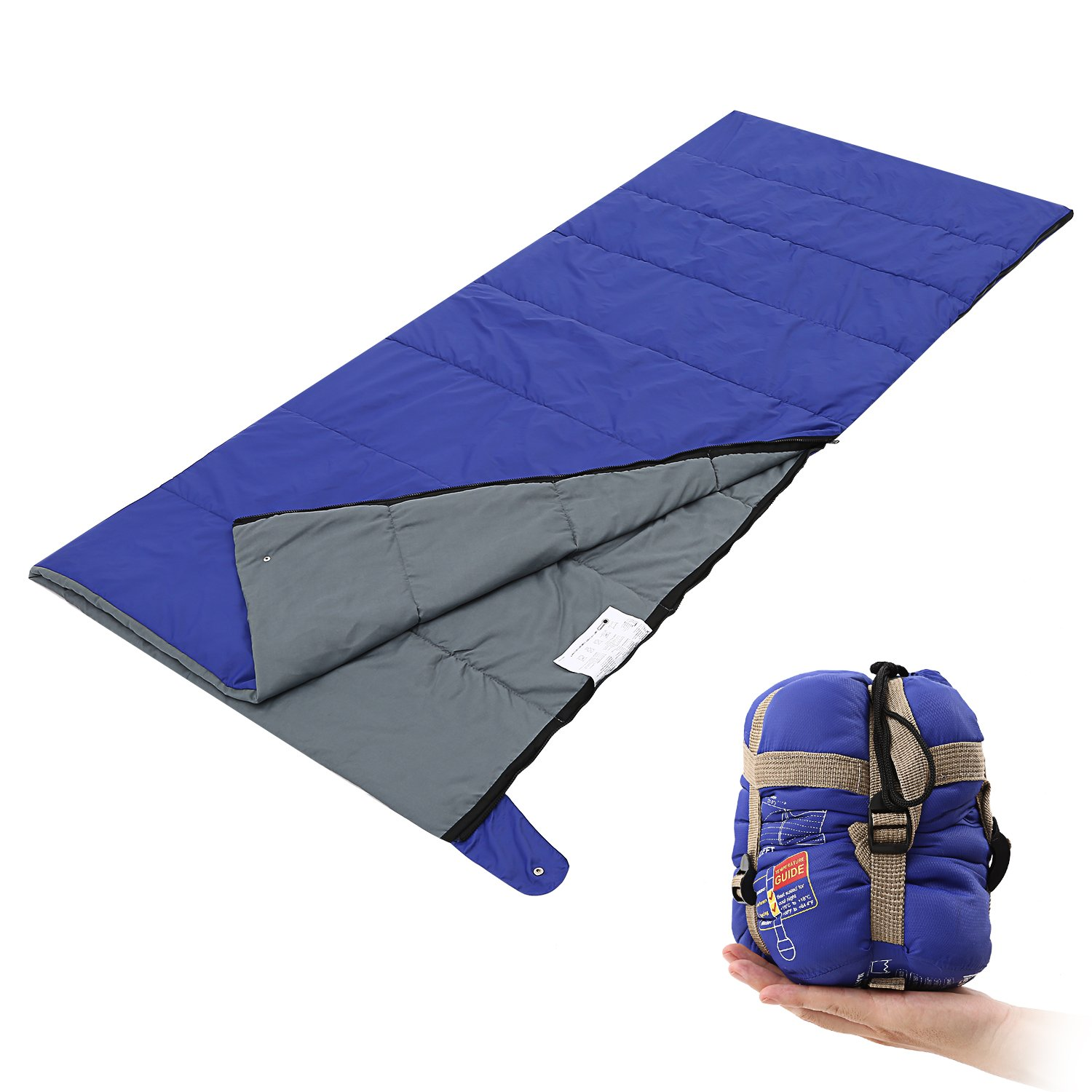 200 x 80 cm Warm Envelope Sleeping Bag with a Compression Bag 87 x 31 in Soft Bedspread Breathable Blanket for Hotel Travel Fully Machine Washable Andake 962g Lightweight Sleeping Bag