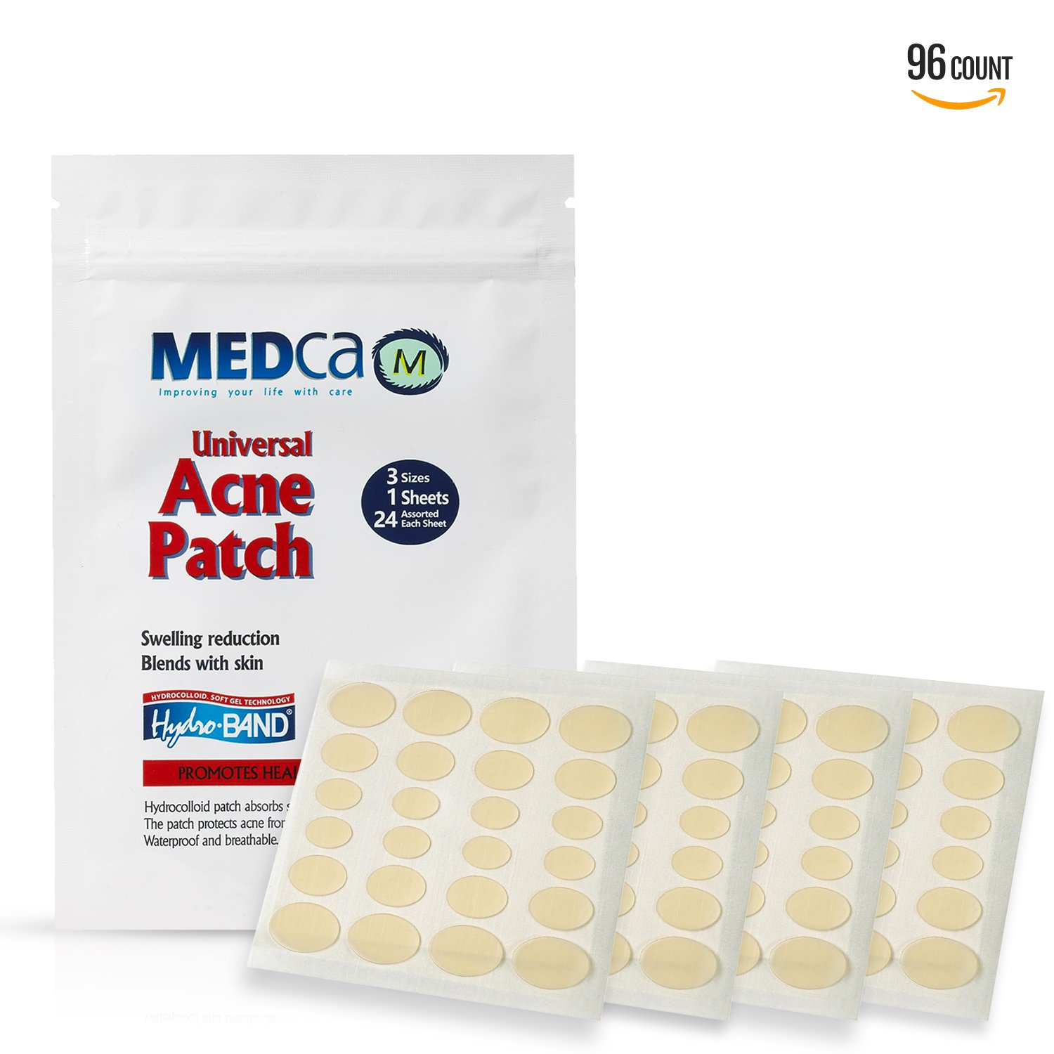Acne Absorbing Covers - Hydrocolloid Acne Care Bandages (96 Count) Three Universal Patch Sizes, Acne Blemish Treatment for Face & Skin Spot Pore Patch that Conceals, Reduce Pimples and Blackheads MEDca