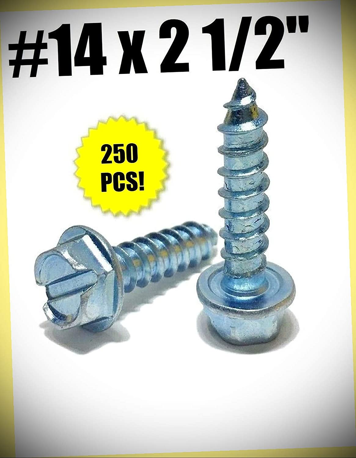 pcs #14 x 2 1//2 Hex Washer Head Slotted Sheet Metal Screw Zinc Plated Set #RD-2751FST Warranity by Pr-Mch Package of 250