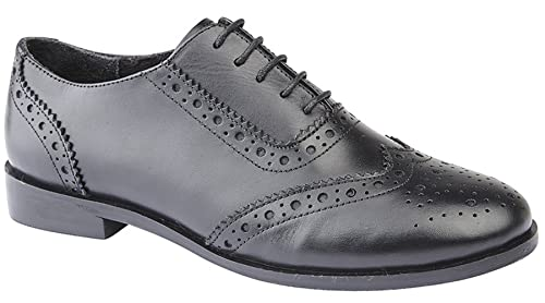 0246a94c422 Cipriata Ladies Womens Leather Brogues Oxford Lace up Smart School Office  Formal Shoes Size 3-9