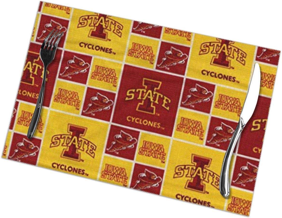 N/A Iowa Manteles individuales para mesa de comedor, juego de 6 piezas de poliéster lavable de 12 x 18 pulgadas en vinilo tejido, resistentes al calor, para decoración de mesa de comedor o cocina