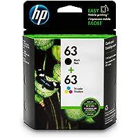 HP 63 Black & Tri-Color Original Ink Cartridges, 2 Pack For HP DeskJet 1112, 2130, 2132, 3630, 3631, 3632, 3633, 3634, 3636, 3637, HP ENVY 4511, 4512, 4516, 4520, 4521, 4522, 4524, HP OfficeJet 3830, 3831, 3832, 3833, 4650, 4652, 4654, 4655 - L0R46AN#140, Black/Tri-Colour