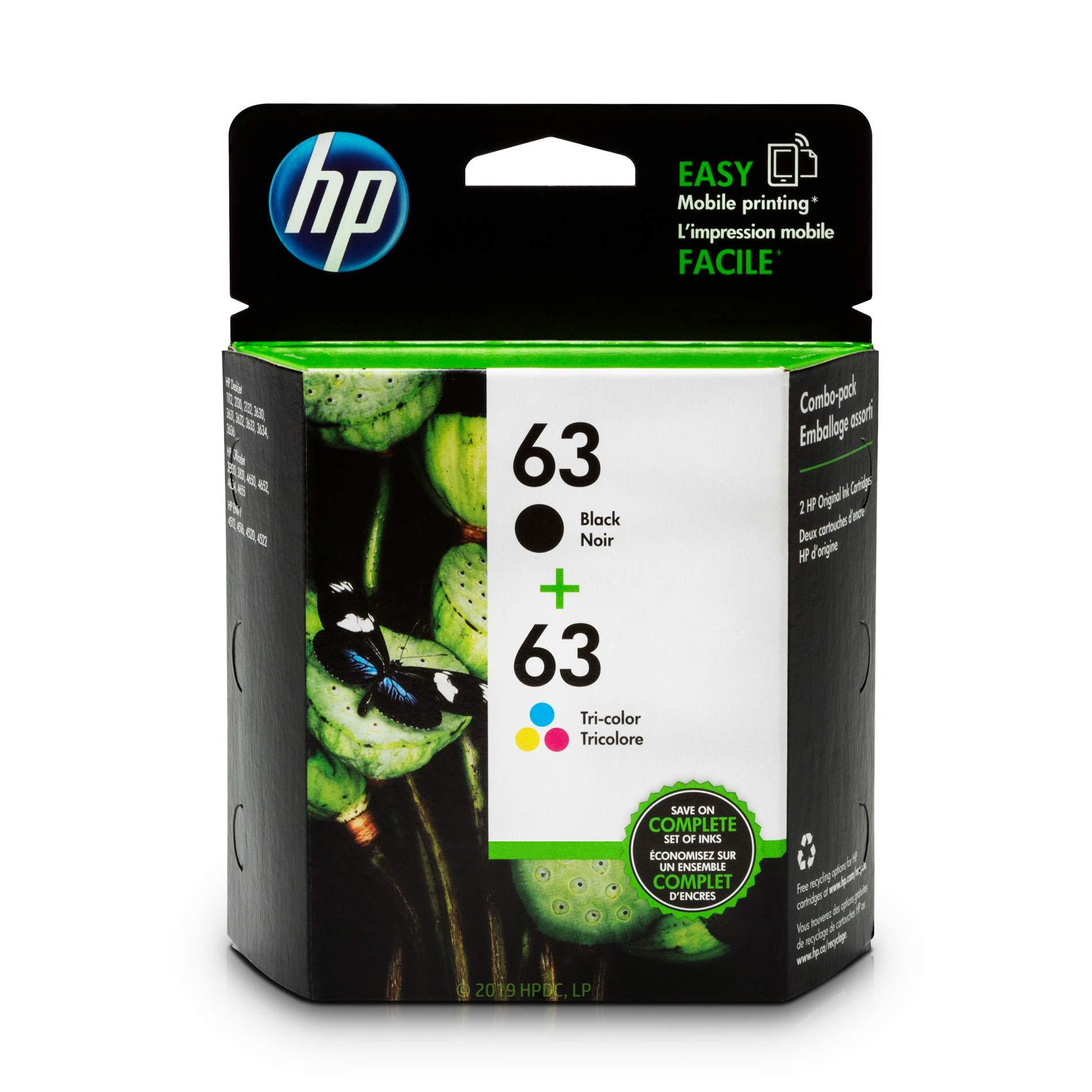 HP 63   2 Ink Cartridges   Black, Tri-color   F6U61AN, F6U62AN by HP