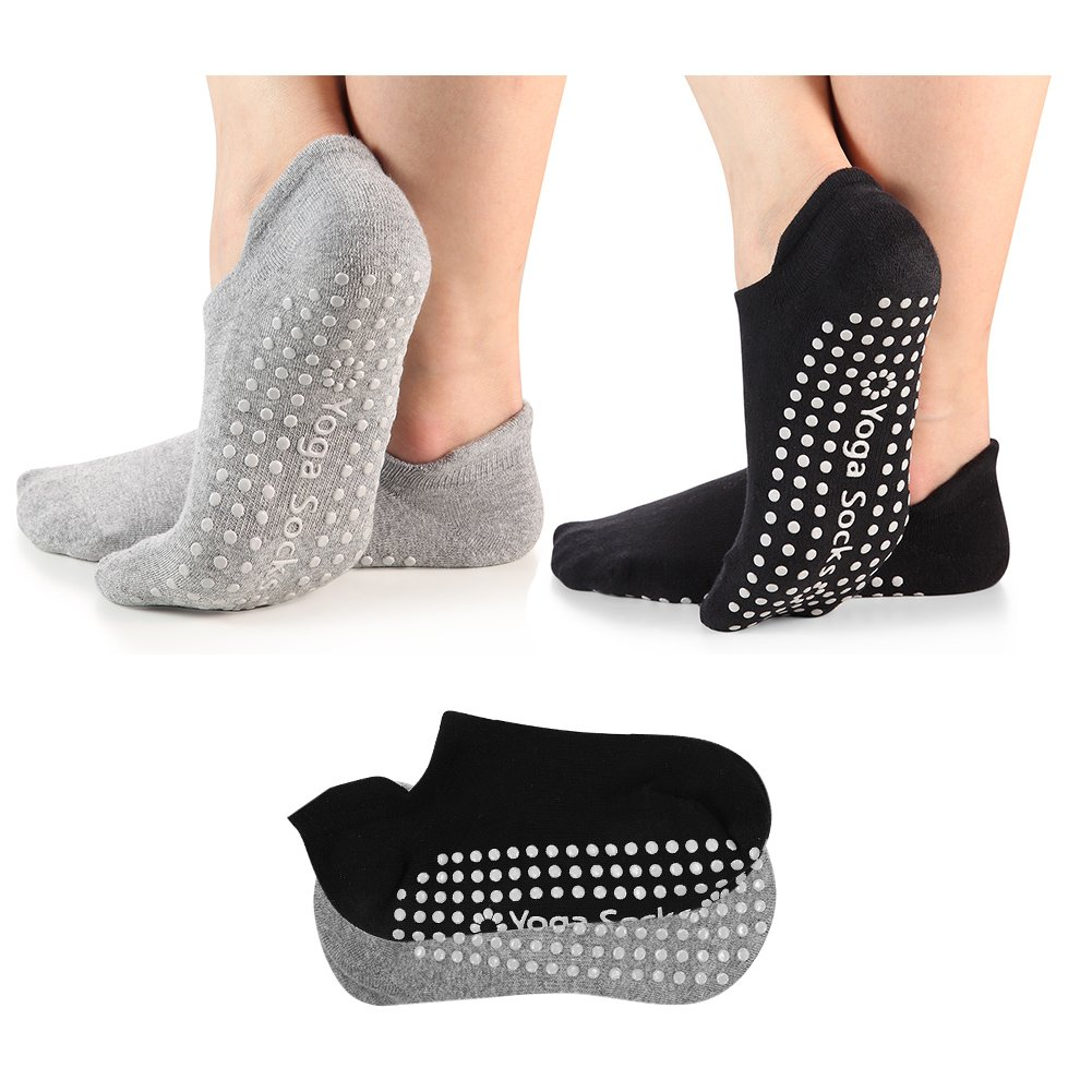 Yoga Socks for Women Non-Skid Socks with Grips Anti-Skid Pilates Socks (2-pairs Black & Grey)