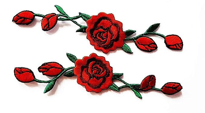 Amazon.com: HHO flor rosa roja vides bordado Applique Patch ...