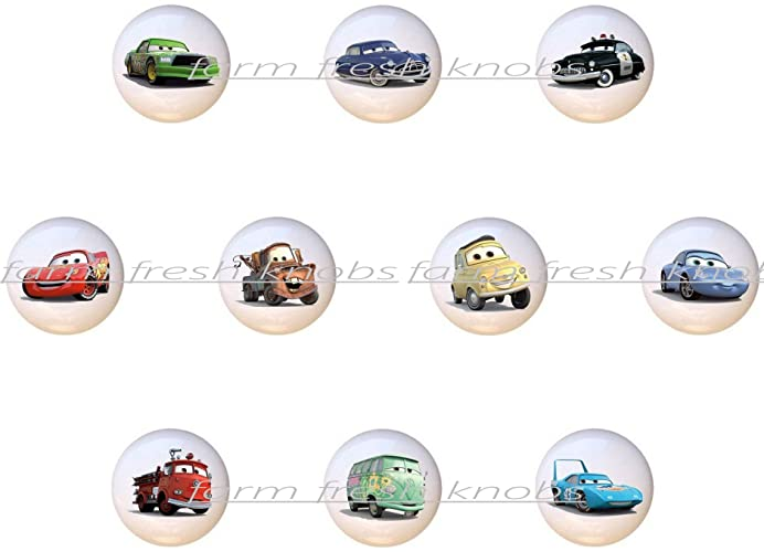 Exceptional SET OF 10 KNOBS   Disney Cars   DECORATIVE Glossy CERAMIC Cupboard Cabinet  PULLS Dresser Drawer