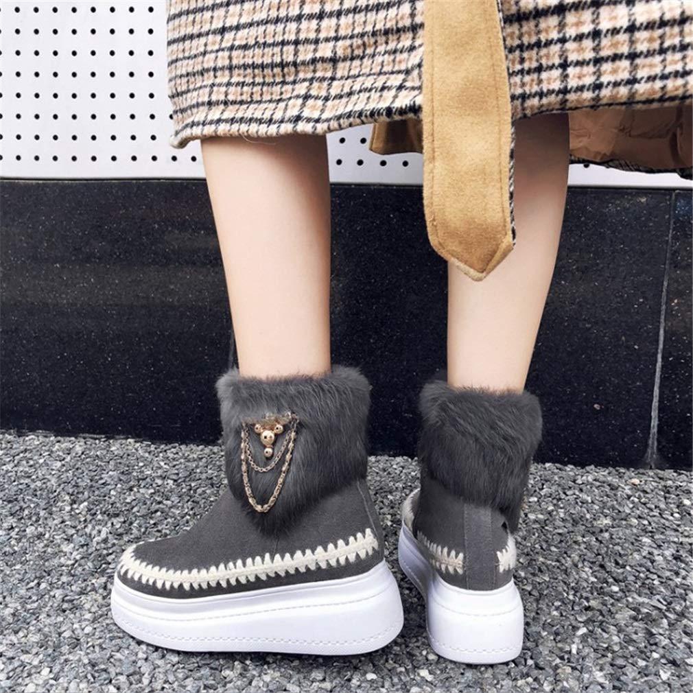 YAN Schneeschuhe Damenschuhe Winter Wildleder Schneeschuhe YAN Plus samt lässige Plattform Schuhe Outdoor Casual Daily Wanderschuhe schwarz grau 9d32b1