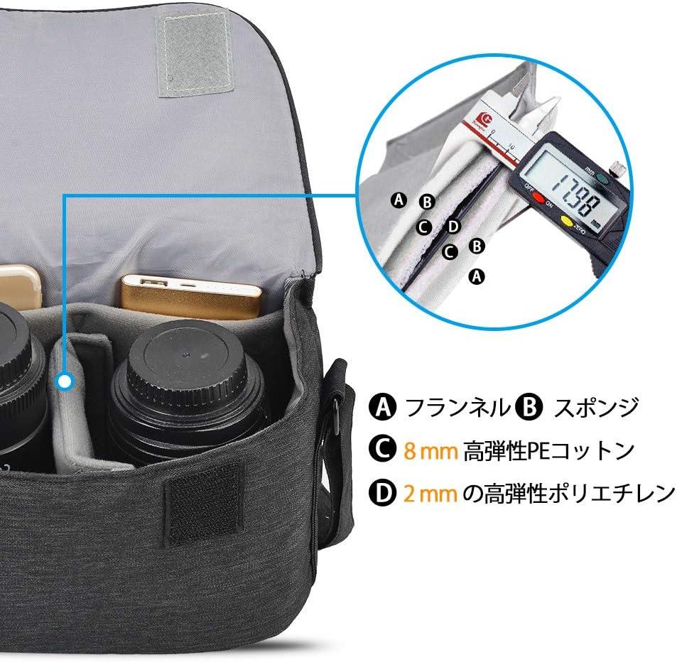 Noir CADeN Compact Sac /à Bandouli/ère et Besace Reflex Sac Photo pour 1 DSLR Canon Nikon Sony and 1//2 lentille Sac Appareil Photo