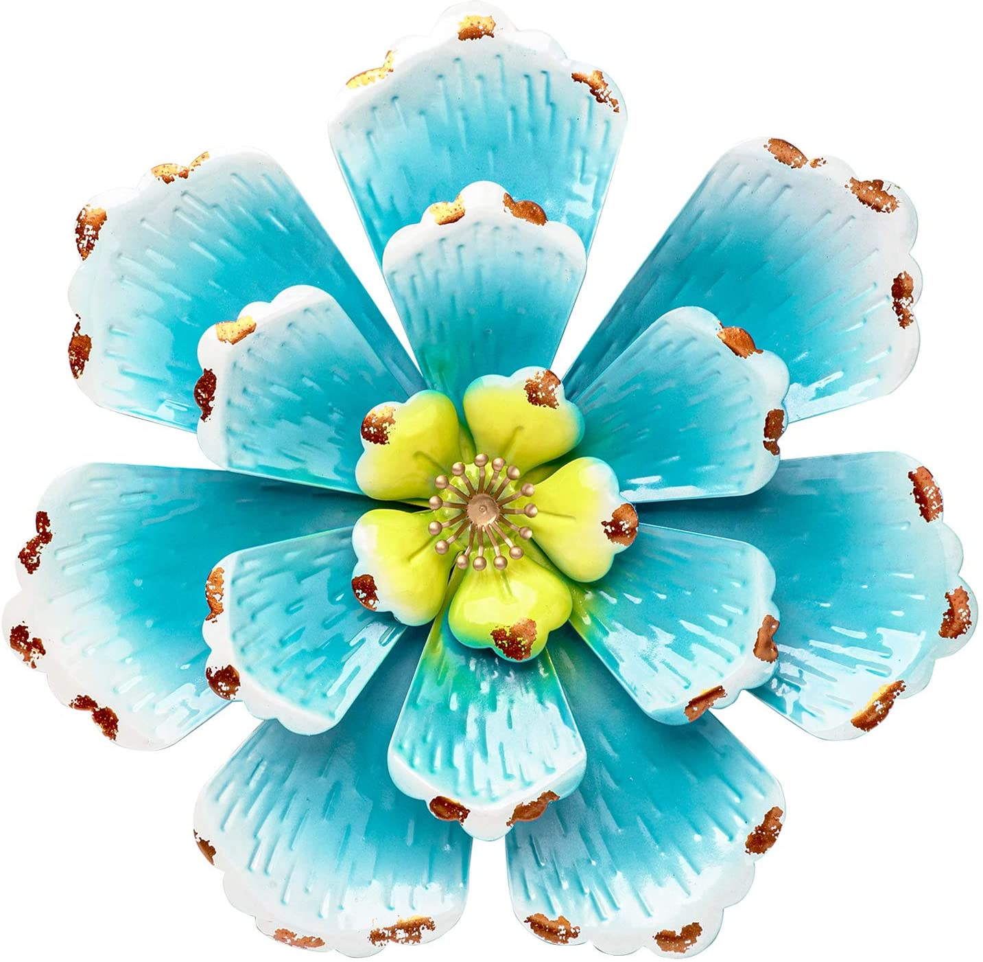 SONGXIN Sky Blue Fall Autumn Metal Flower Home Accents Decor Wall Art Decorations Indoor or Outdoor Wall Sculptures Hanging for Bathroom Living Room Bedroom 12.2 Inch