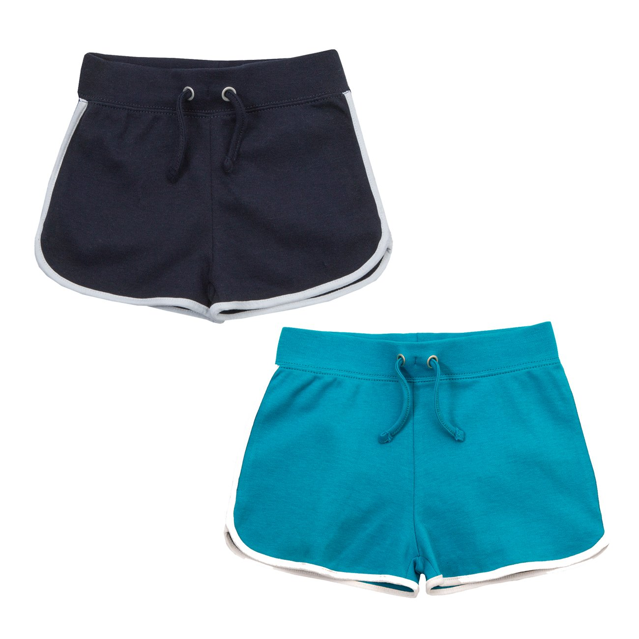Red Melon Infant Girls Retro Shorts Cotton Summer Bottoms Navy and Turquoise 4-5 Years