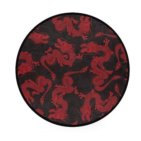 Alfombra redonda con diseño de dragón chino, antideslizante ...