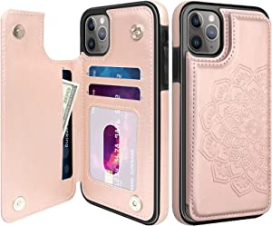 "MMHUO for iPhone 11 Pro Case, Flower Magnetic Flip Leather Wallet Case for iPhone 11 Pro with Card Holder for Womewn Girls, Durable Shockproof Protective Phone Cases For iPhone 11 Pro 5.8"" (Rose Gold)"