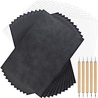 TUPARKA 250 vellen koolstofpapier en pauspapier met 5-delige stempelstiften, zwart carbonpapier om op te nemen