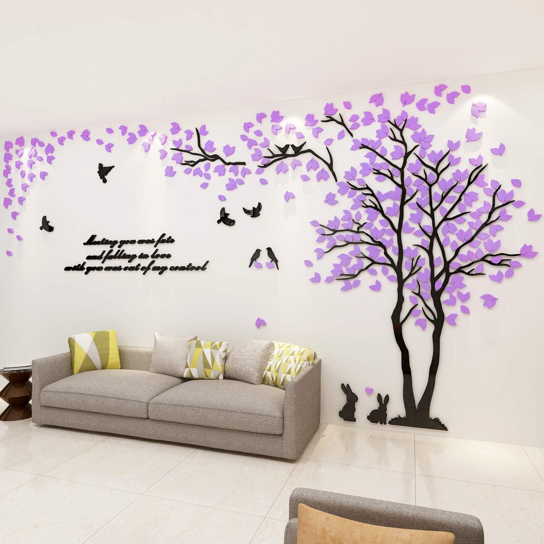 Dark Purple Flower Pattern Art Decal PVC Wall Sticker Bedroom Home Art DIY Decor