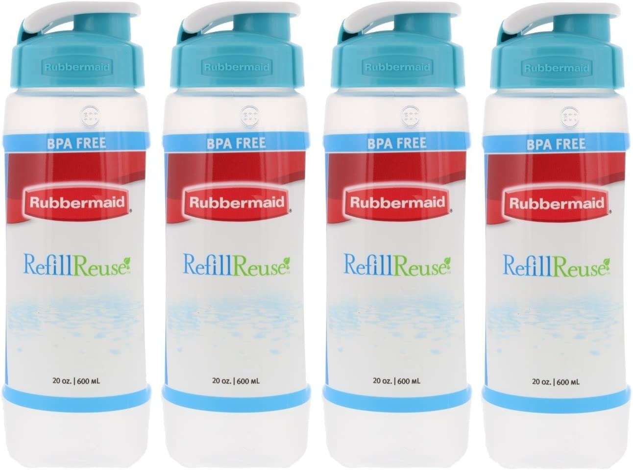 Pack Of 4 Rubbermaid Refill Reuse 20 Ounce Chug Clear Bottles Dishwasher Safe