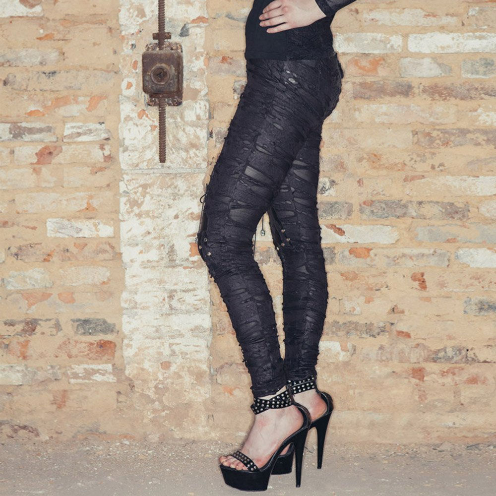 7 taglie Devil Fashion Pantaloni punk pantaloni leggermente strappati Holey delle donne gotiche pantaloni scarni neri pantaloni neri