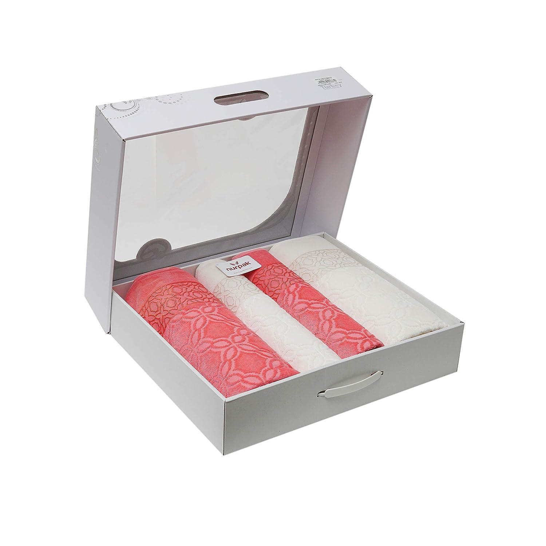 Cream//Violet Tessile Di-Lusso Nurpak Adriana VIP Turkish Cotton//Jacquard Luxury Towels in Gift Box.27 x 55 in 4 Pack 20 x 35 in