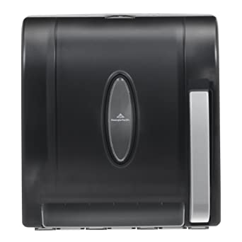 Georgia-Pacific Vista 54338 Black Hygienic Push Paddle Roll Paper Towel Dispenser, 12.75""
