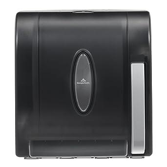 "Georgia-Pacific Vista 54338 Black Hygienic Push Paddle Roll Paper Towel Dispenser, 12.75"""
