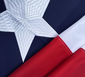 Winbee Embroidered Texas State Flag 3x5 Ft - Embroidered Stars, Heavy Duty Long Lasting Nylon, Sewn Stripes, Brass Grommets and UV Protected, 3 by 5 USA Flag and Texas Flag