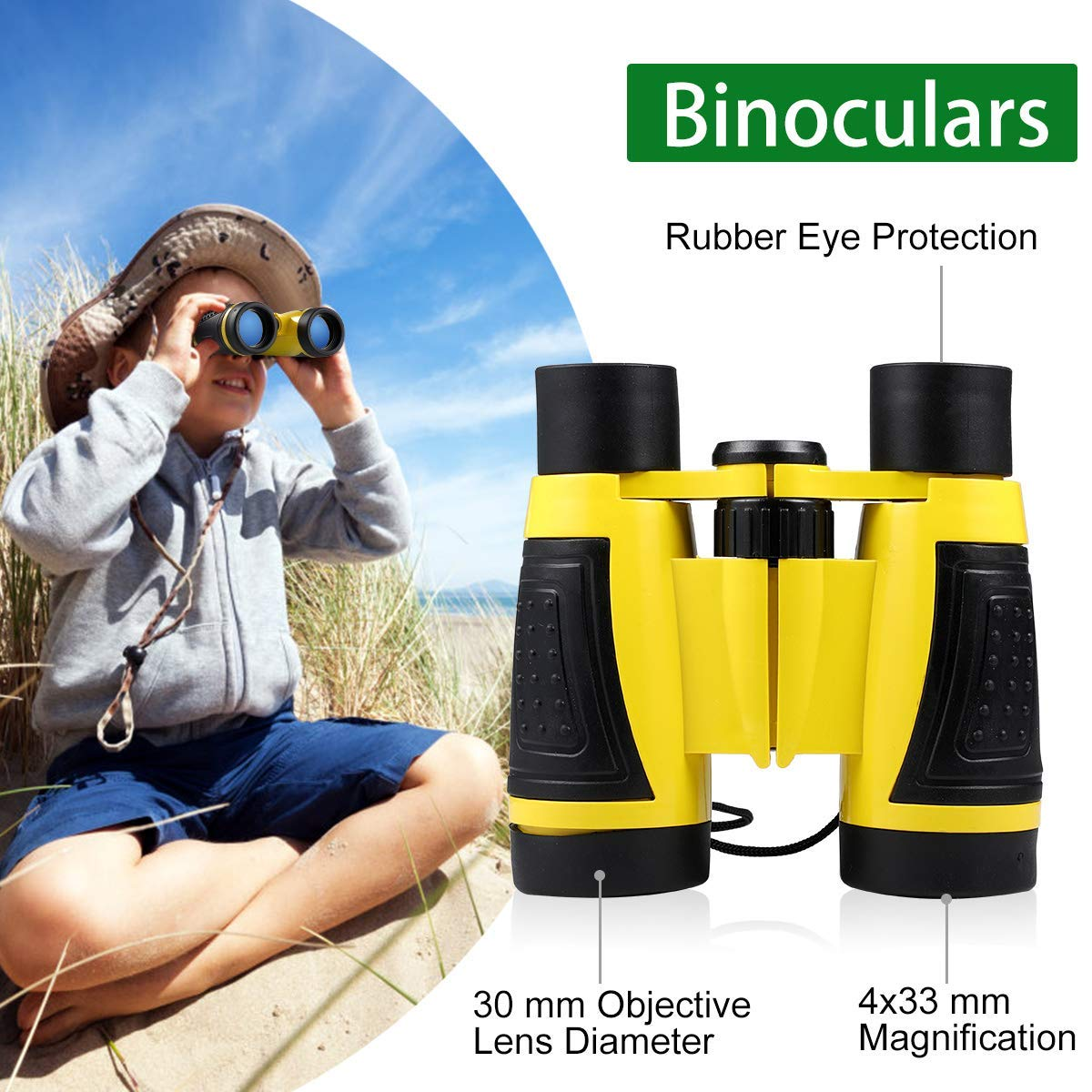 UTTORA Outdoor Explorer Kit, Kids Binoculars Set with Compass, Magnifying Glass, Butterfly Net for 3-12 Year Old Boys and Girls, Kids Telescope Adventure Kit Children Outdoor Educational Kit (22PCS)