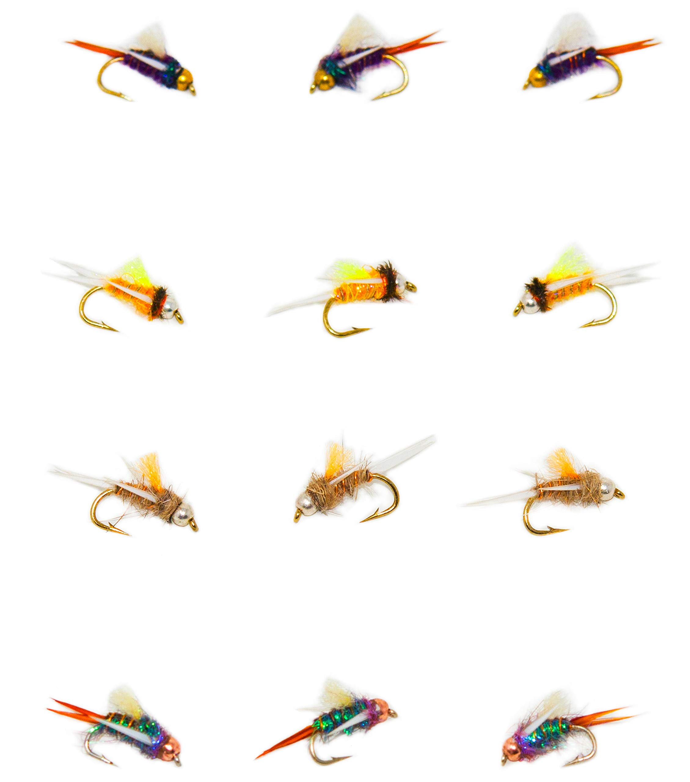 Outdoor Planet 12 Psycho Prince Attractor Nymph Flies/Wet Flies for Trout and Steelhead Fly Fishing Flies Lure Assortment by Outdoor Planet