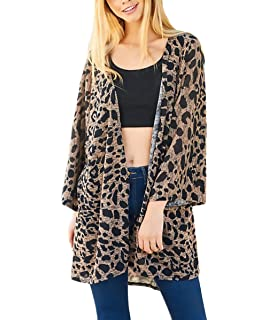 16d26dba280e27 Damen Cardigan Jacken Lang Elegant Vintage Leopard Druck Outerwear 3/4 Arm  Party Stil Locker