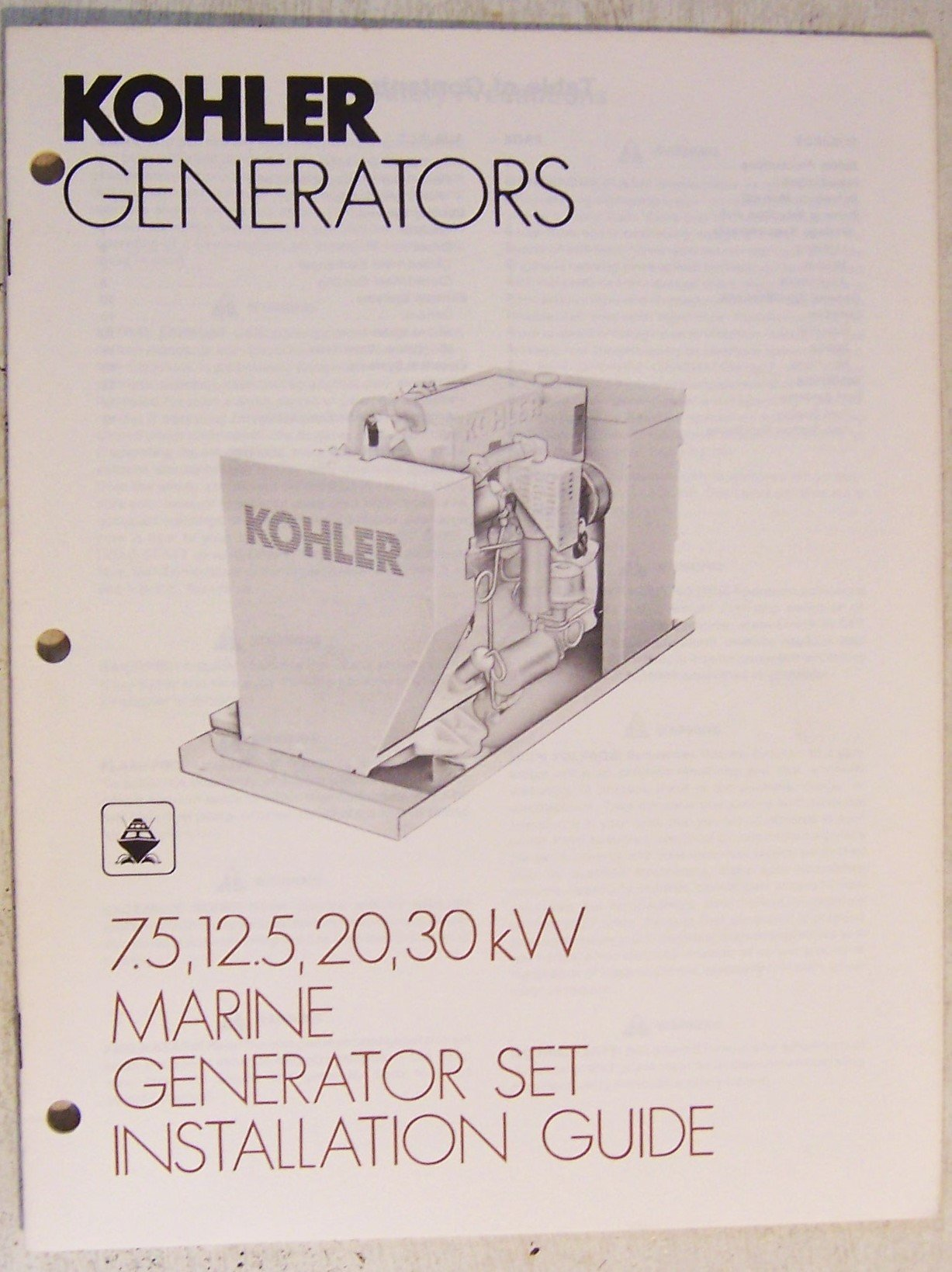 Kohler Generators Marine Generator Sets Installation Guide Kohler Co Amazon Com Books