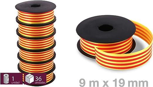 6 Rollos Cinta Bandera Catalana Senyera Decorativa - 5 metros longitud y 19mm de ancho - Ideal para lazos, pulseras, floristerias: Amazon.es: Hogar