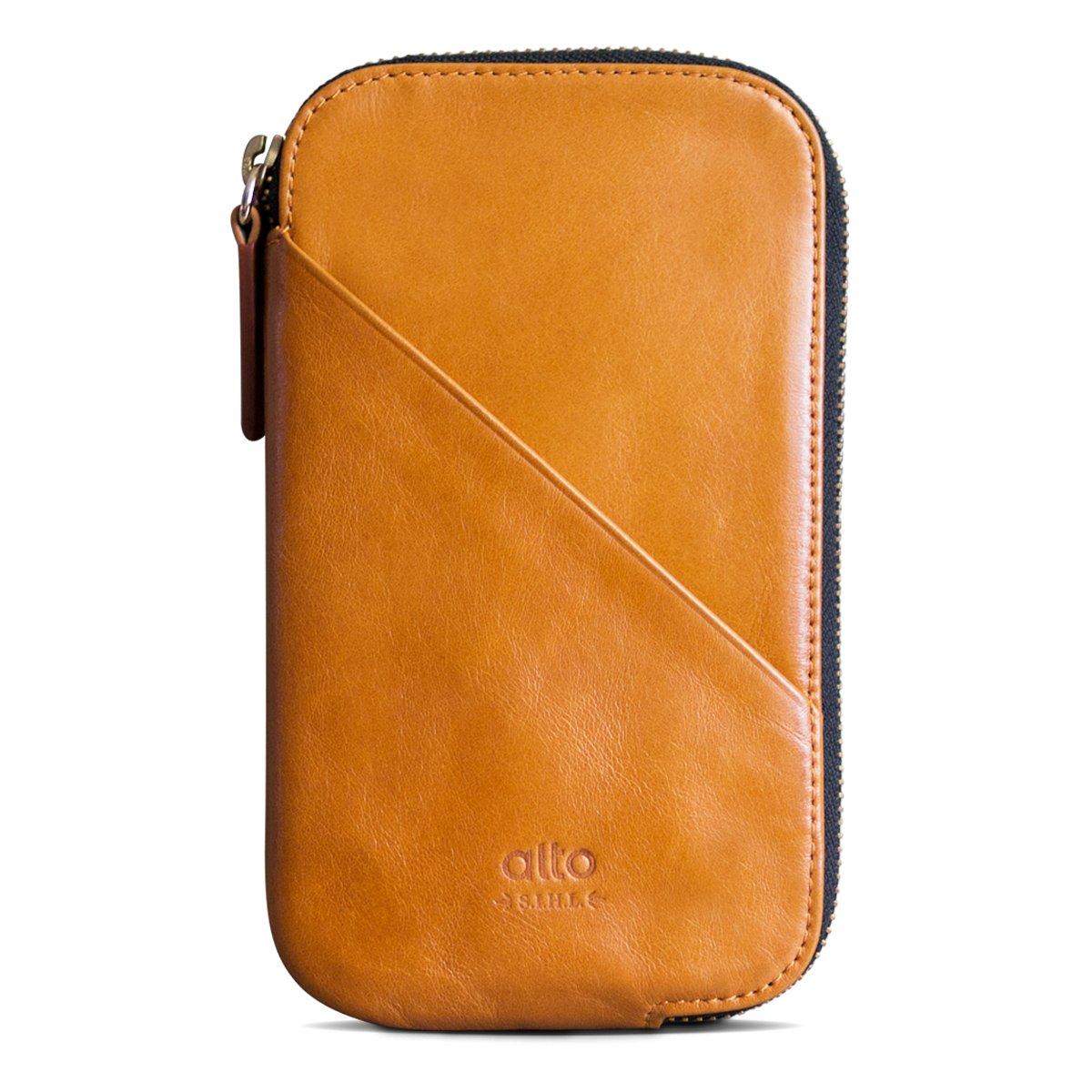 alto Handmade Premium Italian Leather for Apple iPhone 7 / iPhone 7 Plus / iPhone 8 / iPhone 8 Plus / iPhone X Travel Phone Wallet (Caramel)
