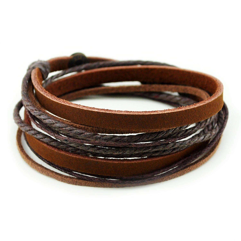 FRD.2Y Furuida Genuine Leather Cuff Wrap Bracelet,Unisex Multilayer Leather Braided Adjustable Bracelets for Women & Men Brown