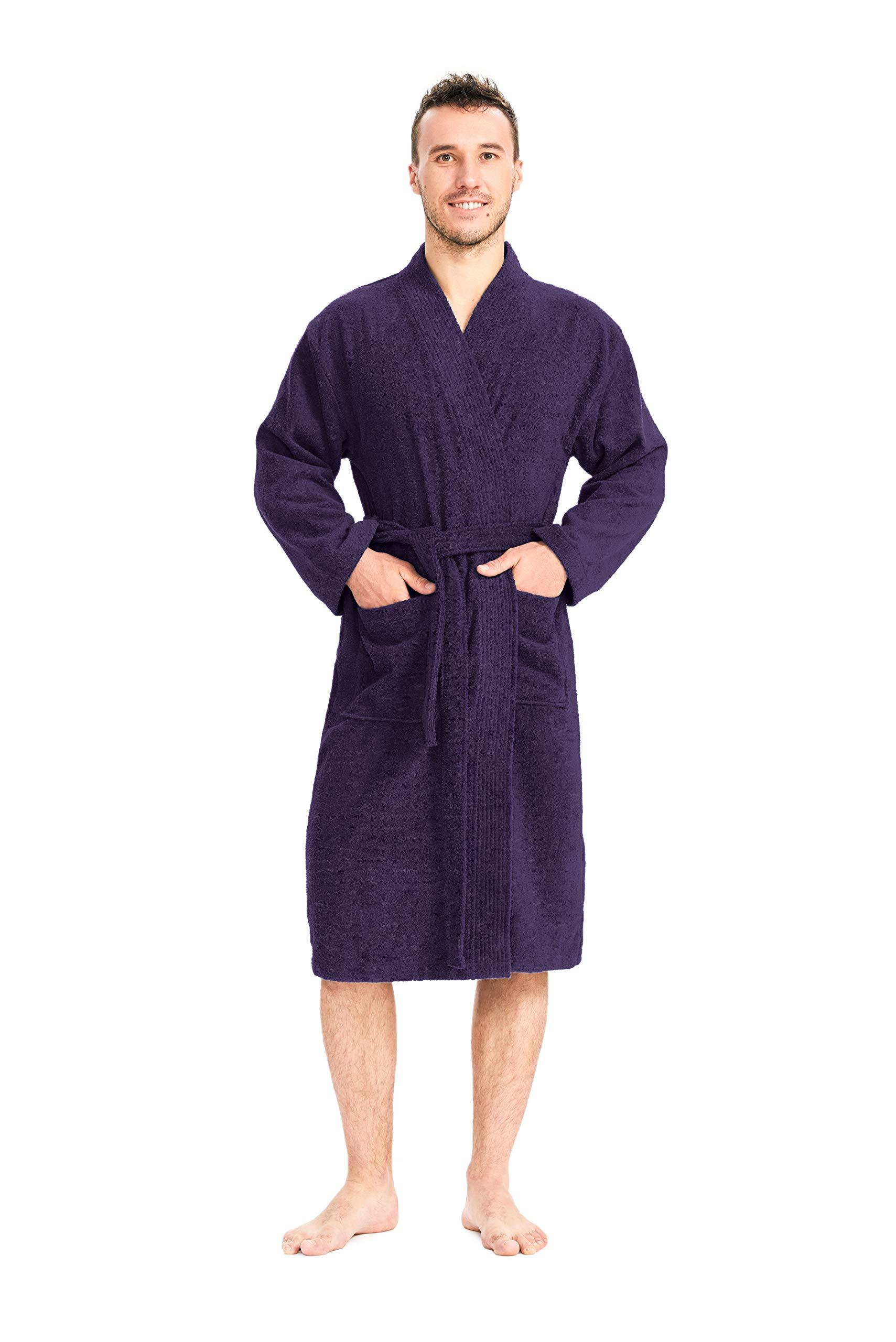SIORO Men's Bathorbe Long Soft Robe Lightweight Sleepwear Absorbent Loungwear Pajamas Gown Gothic Grape L