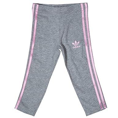 f0786d6ec90bb Baby Girls adidas Originals 3 Stripe Leggings In Grey Heather ...