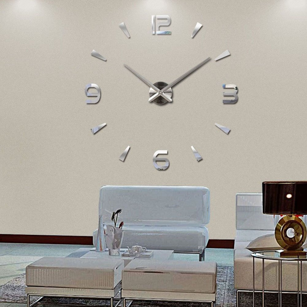 Modern DIY Large Clock Clock 3D Sticker Decorative Stickers Mirror Effect Acrylic Wall Clock Home Office Decoration Removable (M004-Silver)