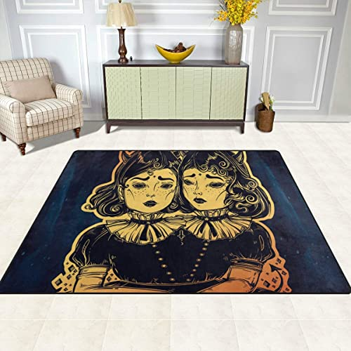 Dragon Sword Gothic Witchcraft Siamese Twins Area Rugs Anti-Skid Shaggy