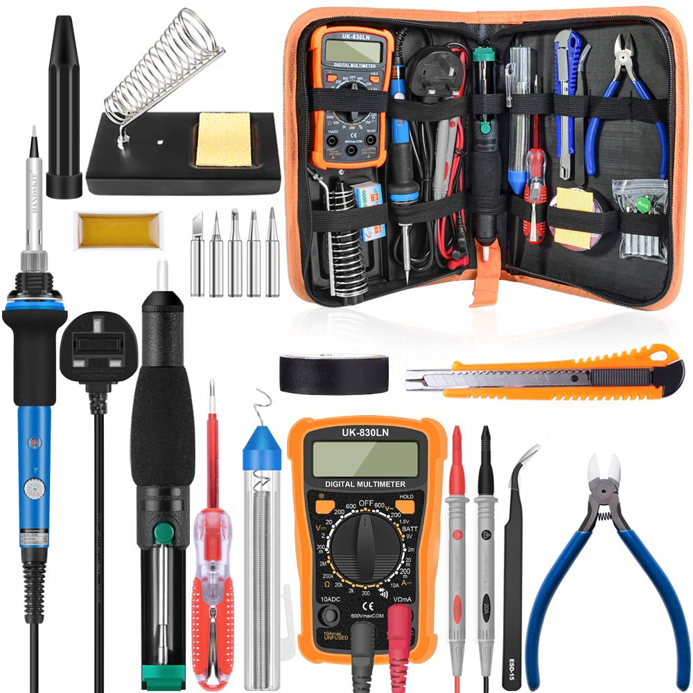 Soldering Kit, Soldering Iron with Multimeter, NO-Soldering Welding Tools/Cutter/Solder Wire/Solder Iron Tip and PU Tools Bag HANDSKIT
