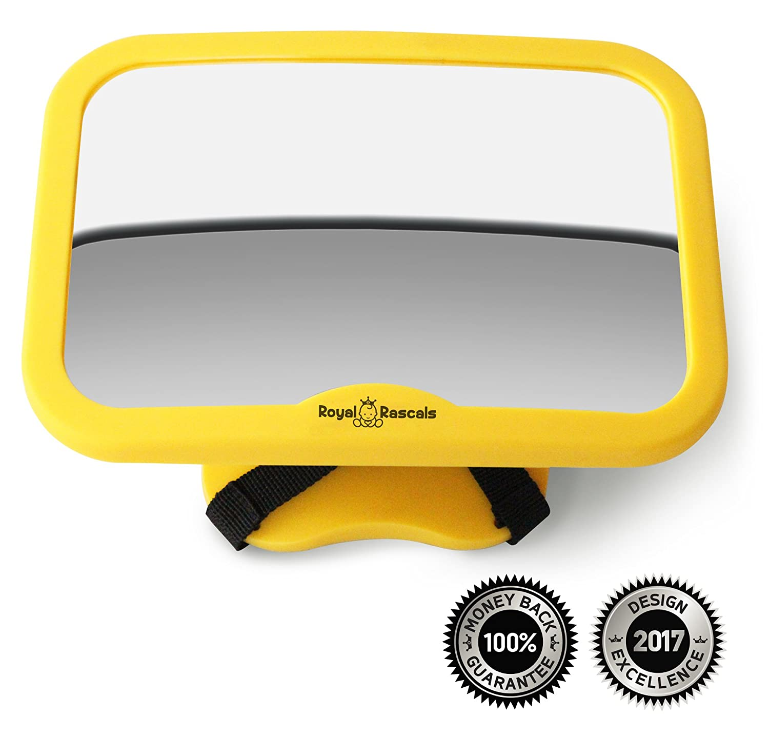 Baby Car Mirror for Backseat - Safety Yellow Shatterproof - Rear View Infants Car Seat Mirror for Rear Facing Babies in cars Royal Rascals XLR-3