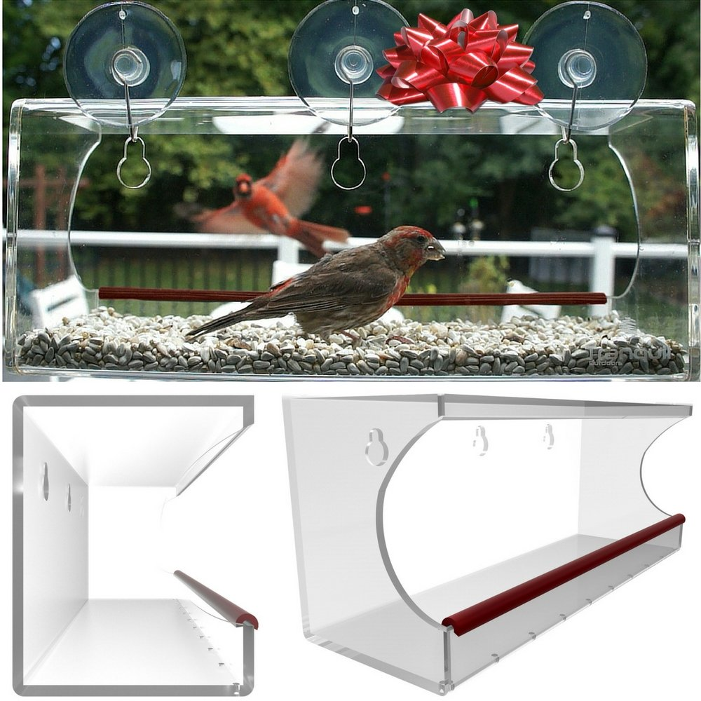Large Window Bird Feeder: See Through Clear Acrylic Design Provides a Unique In House Birding Experience, 3 Heavy Duty Suction Cups with Hooks Mount to Glass for an Effortless Install, Best Gift Idea!