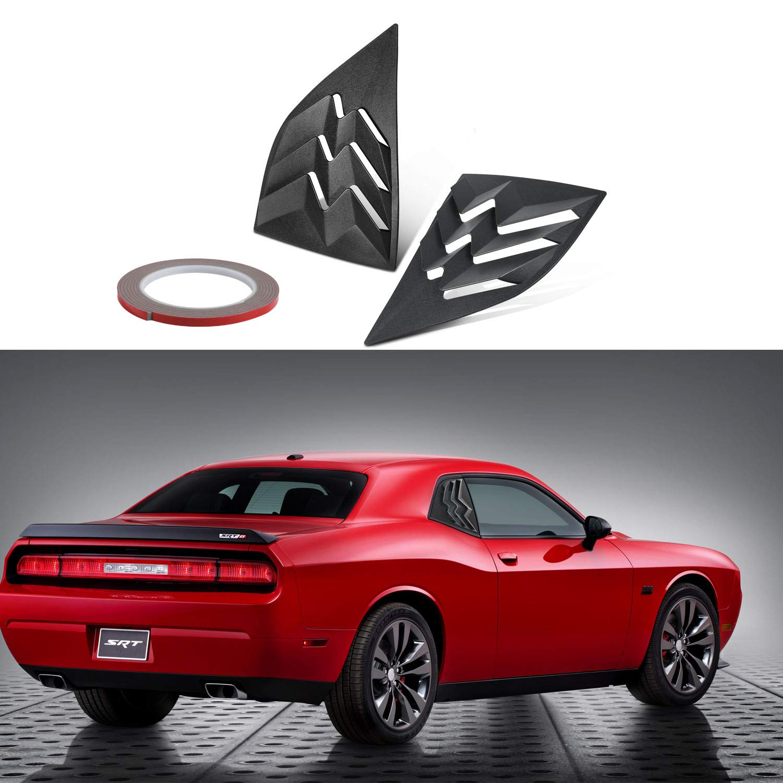 Sun Rain Shade Vent ABS Window Visor Cover E-cowlboy for 2008-2019 Dodge Challenger Matte Black Side Window Scoop Louvers